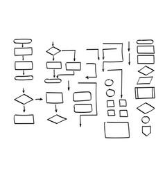 Doodle flowchart shapes doodle symbols pointer vector