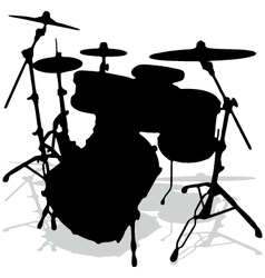 Drum silhouettes music instrument vector image