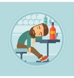 Drunk man sleeping in bar vector