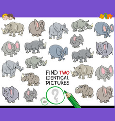 find two identical animal pictures game vector image