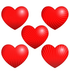 Five Beautiful Hearts with Patterns vector