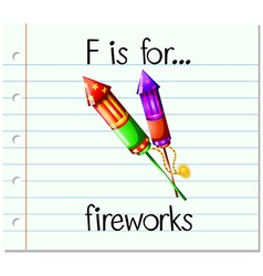Flashcard letter F is for fireworks vector
