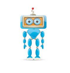 funny cartoon blue robot character vector image