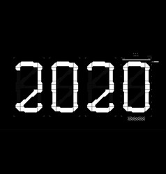 Futuristic digits 2020 with interface hud vector