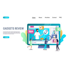 Gadgets review website landing page design vector