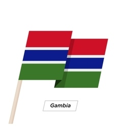 Gambia Ribbon Waving Flag Isolated on White vector