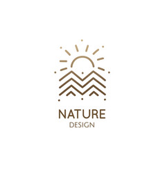 Geometric logo mountain landscape vector