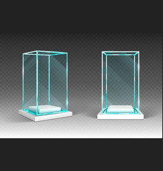 Glass showcase display exhibit transparent box vector