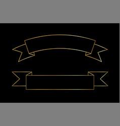 gold ribbon set contour shape golden outline vector image