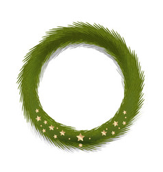 Green christmas wreath decorated gold stars vector