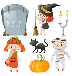 Halloween theme with kids in costumes vector