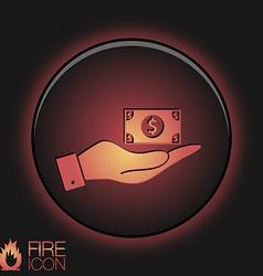 hand holding a Dollar bill symbol of money vector image