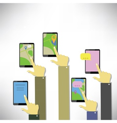 hands with touching a smart phones vector image