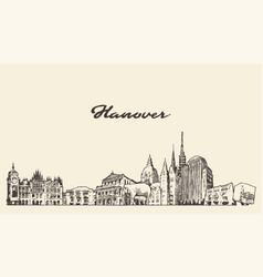 hanover skyline lower saxony germany sketch vector image