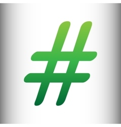 Hashtag sign Green gradient icon vector