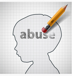 head of baby with the word abuse vector image