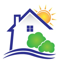 House sun and bushes icon logo vector