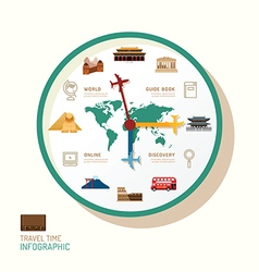 Infographic watch and travel flat icons idea trav vector