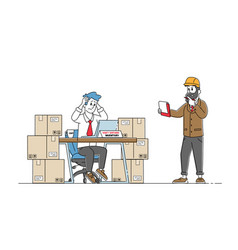 Inventory managers work in warehouse with stacks vector