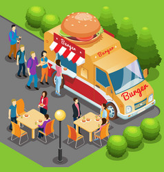 Isometric fast food truck concept vector