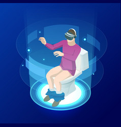 isometric man in virtual reality helmet sitting on vector image