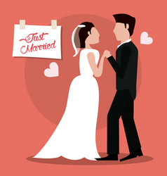 just married couple holding hands vector image