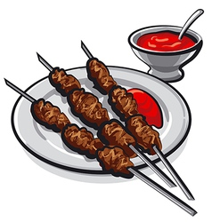 kebab and sauce vector image