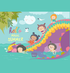 kids playing with cute dragon at waterpark in vector image