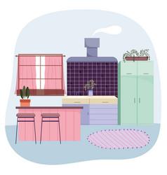 kitchen interior furniture chairs window carpet vector image