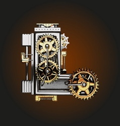 L letter with gears vector