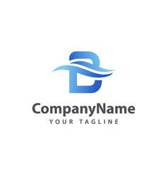 Letter b wave logo design template vector
