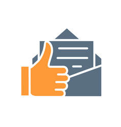 letter with thumb up colored icon customer vector image