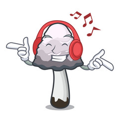 Listening music shaggy mane mushroom mascot vector