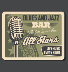 live music jazz and blues retro invitation vector image