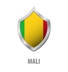 Mali flag on metal shiny shield vector