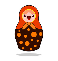 matrioshka russian nesting doll flat kawaii vector image