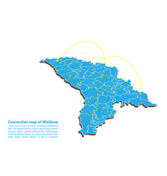 Modern of moldova map connections network design vector