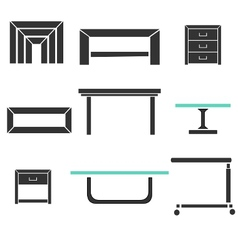 modern tables set vector image