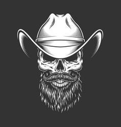 Monochrome skull in cowboy hat vector