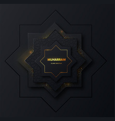 Muharram islamic new holiday dark banner with gold vector