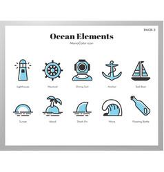 Ocean elements monocolor pack vector