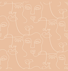 one line drawing women faces seamless pattern vector image
