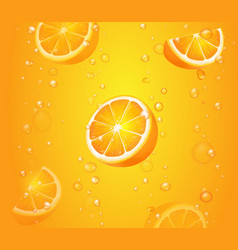 Orange fruits with slices in juice of citrus vector