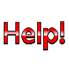 pixel help red text detailed isolated vector image