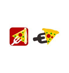 pizza fork template set vector image