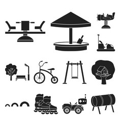 playground entertainment black icons in set vector image
