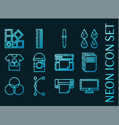 polygraphy set icons blue glowing neon style vector image