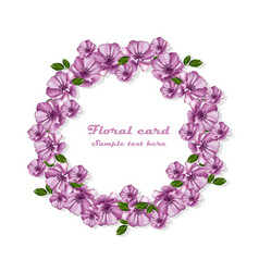 Purple flowers wreath card frame vector