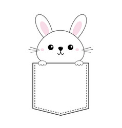Rabbit baby face head icon sitting in the pocket vector