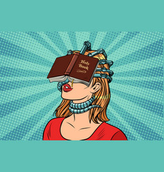 Religious fanatic woman vector